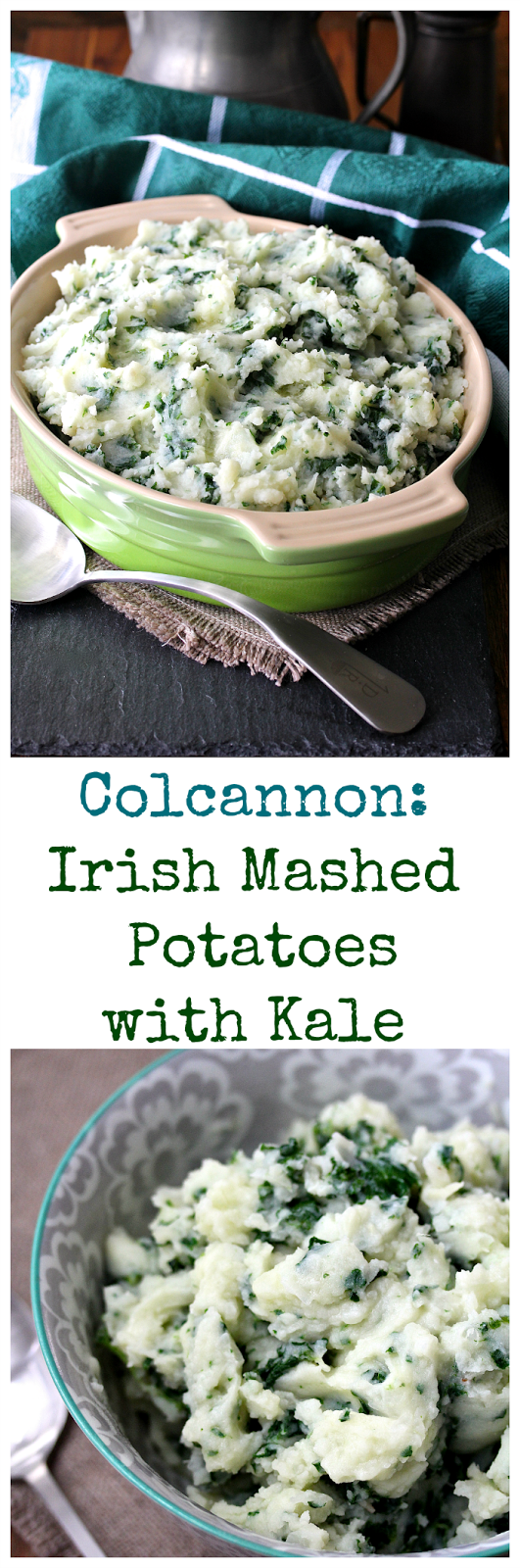Colcannon is a traditional Irish potato dish, typically made with kale, cabbage, leeks, or assorted chopped greens, along with butter and milk.