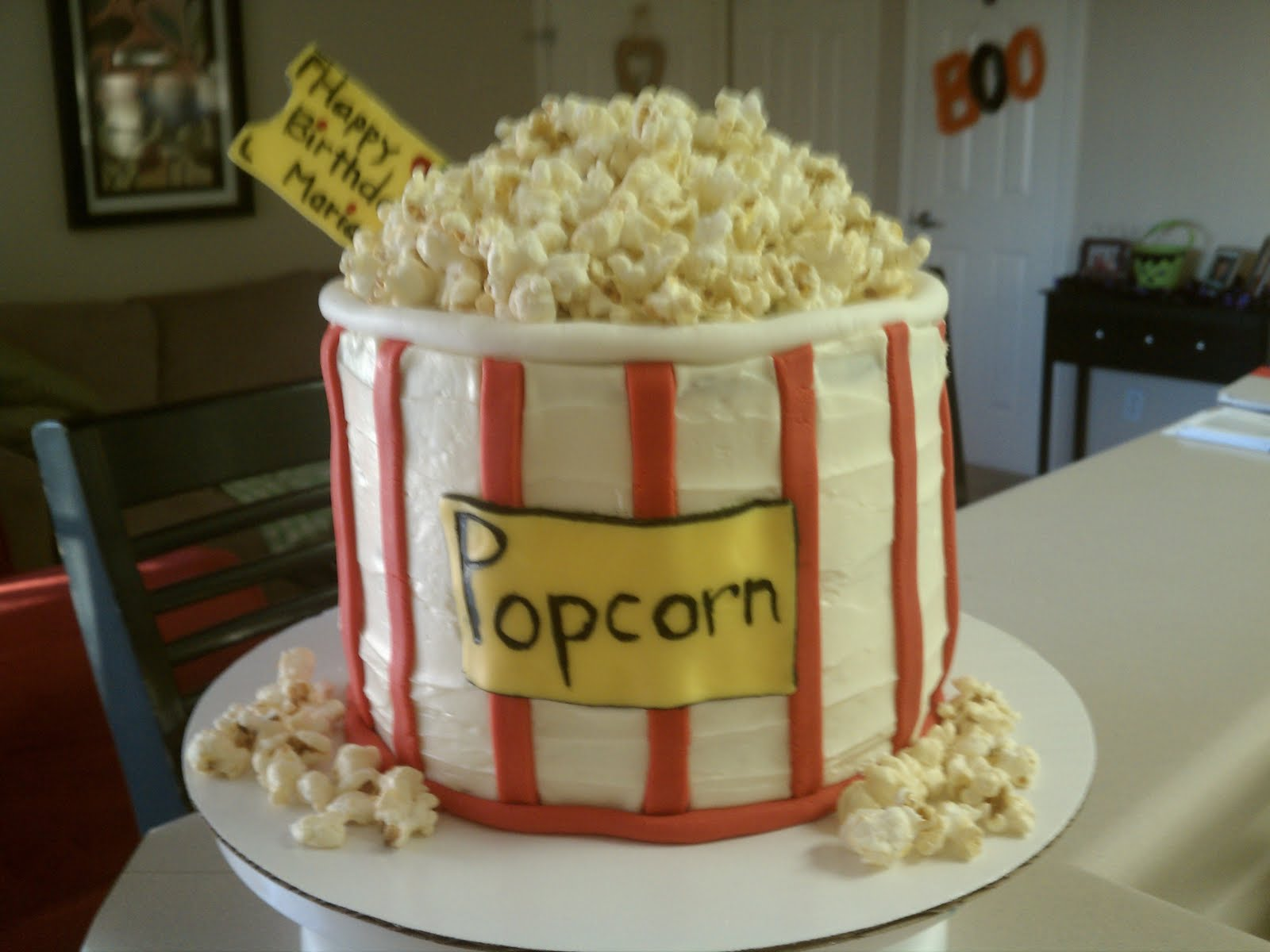 This Cake Was For An 11 Year Old Movie Themed Birthday Party It Chocolate Filled With Icing I Used Fondant The Red Stripes And