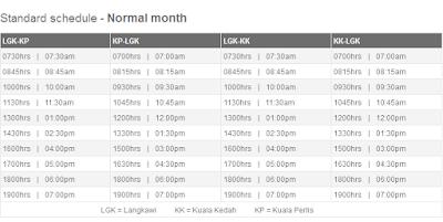 Jadual perkhidmatan feri Pulau Langkawi