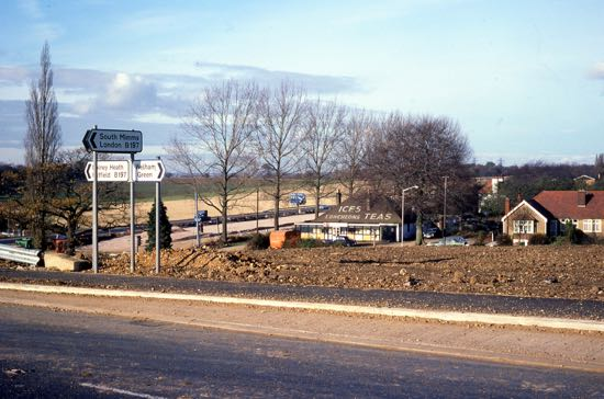 Photograph of The Budgie Cafe from the new A1(M) flyover - November 1978  Image by Ron Kingdon from the Images of North Mymms collection