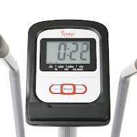 LCD Fitness Monitor on Sunny SF-RB4708 Recumbent Bike, displays time, speed, distance, calories, pulse, odometer, scan
