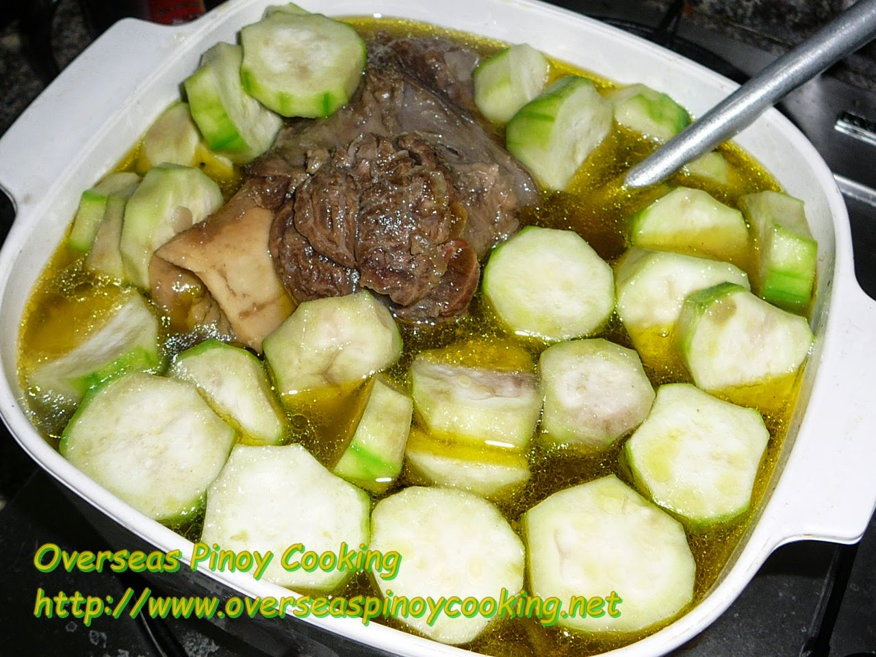 Pinatolang Bulalo, Bulalo with Patola - Cooking Procedure