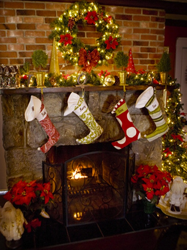 Fireplace socks Mantel Home Decoration Idea in Christmas Festival lights