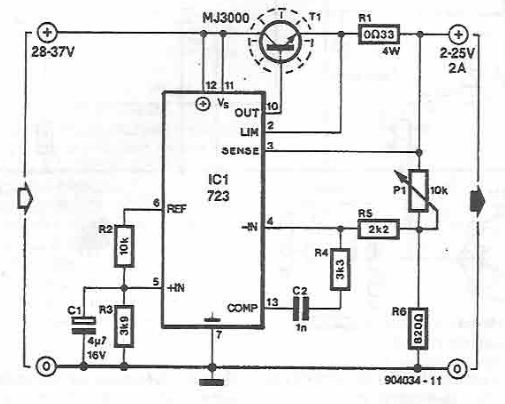 variable power supply using lm723 circuit diagram