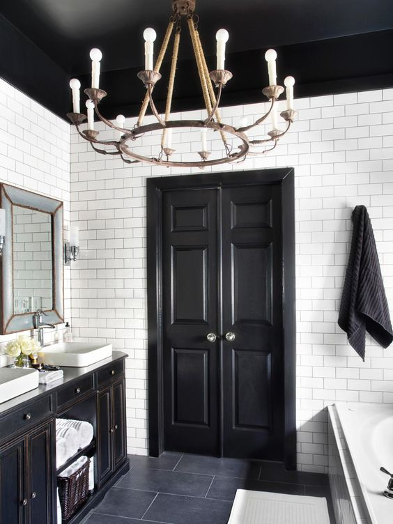 painted%2Bceilings%2Bblack%2Bbathroom%2Bwhite Paint Designs For Bathroom Walls With Dark Trim on