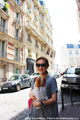 Margaret with her fresh baguettes at Gontran Cherrier in Paris