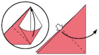 Bước 3: Từ vị trí mũi tên mở lớp giấy trên cùng ra, kéo và gấp giấy như hình vẽ