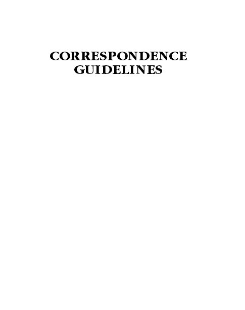 Manual: Correspondence Guidelines