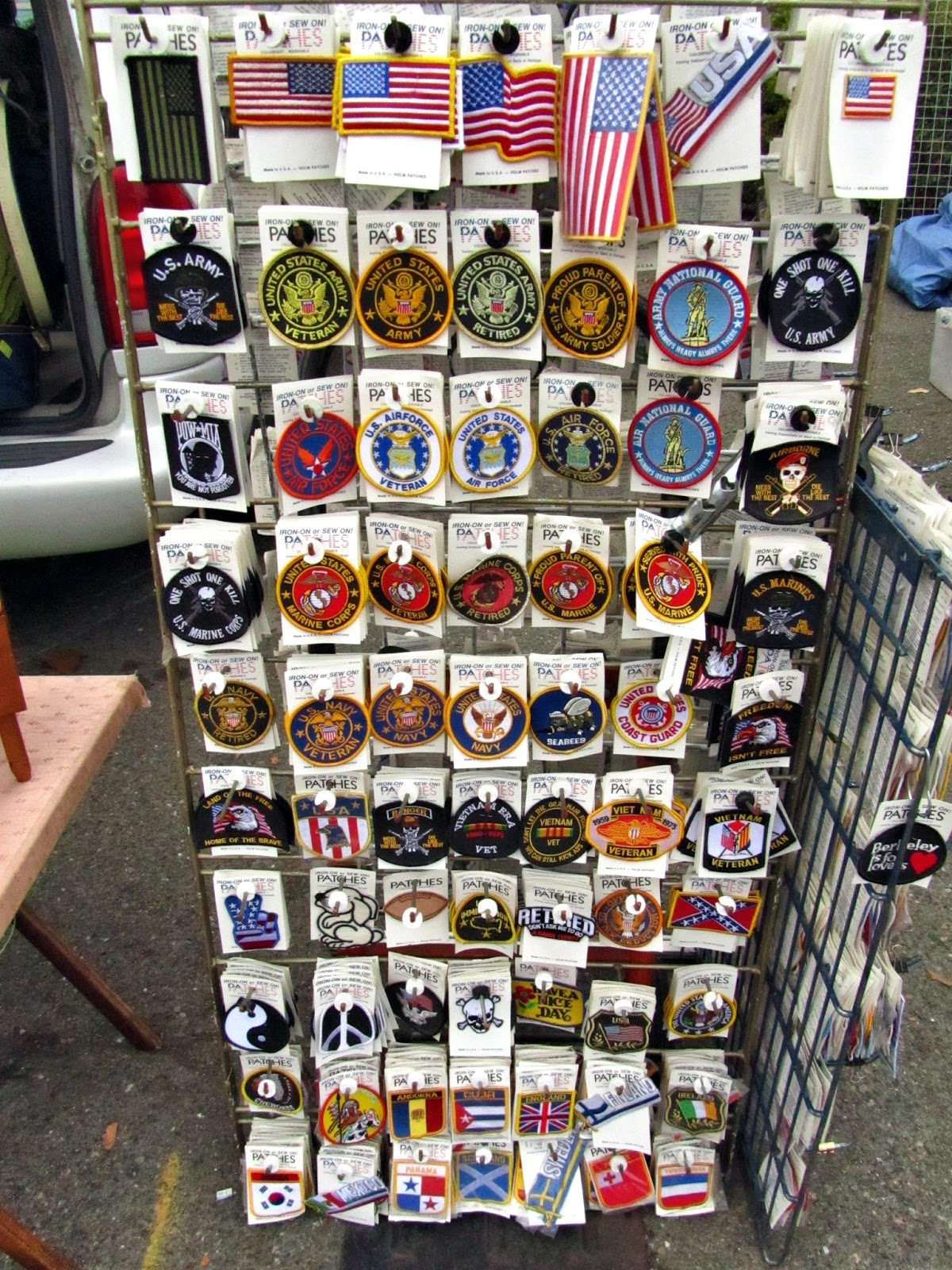 Beans and I on the Loose: Flea Market - Patches, Hats and Cards
