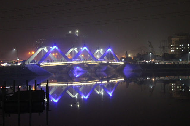 Hatirjheel bridge Blue color light