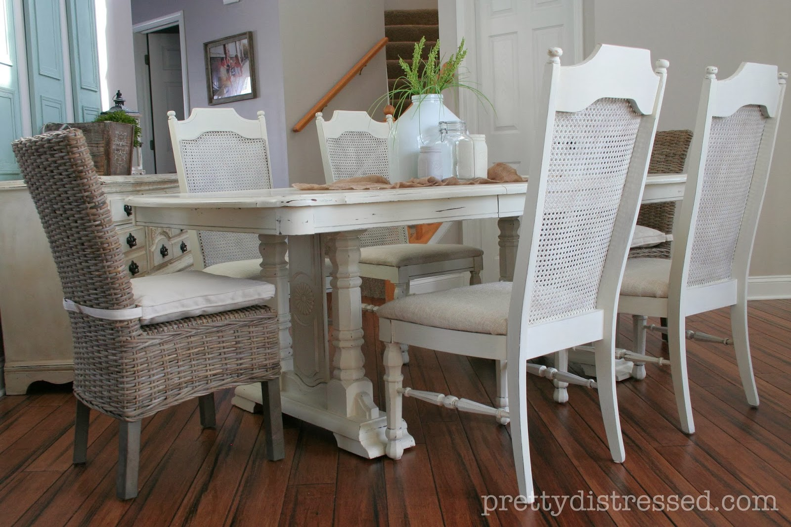white painted table and chairs nursery rocker recliner chair pretty distressed eleanor 39s before after
