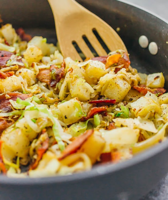 FRIED CABBAGE AND POTATOES WITH BACON