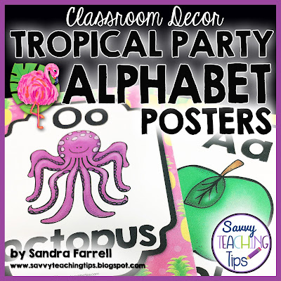 I love this tropical classroom decor.  It has cute flamingos, pineapples, and palm leaves.  It has fun bright colors too.  Get all the pieces in a bundle.