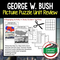 American History Picture Puzzles are great for TEST PREP, UNIT REVIEWS, TEST REVIEWS, and STUDY GUIDES, George W. Bush