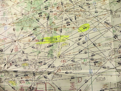 High Altitude ENROUTE Map of UFO Encounter By Pilot Oct. 1998