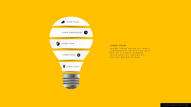 Origami Style Light Bulb Infographics PowerPoint Template Color Type A