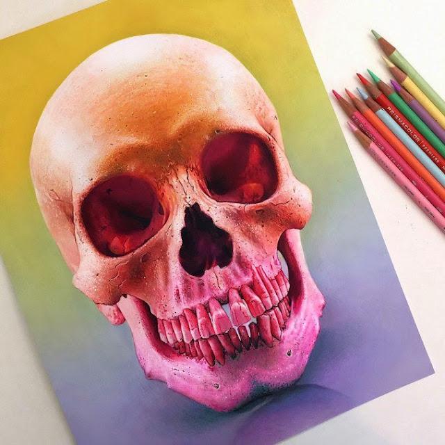ilustración realista con lápices de colores -prismacolor.