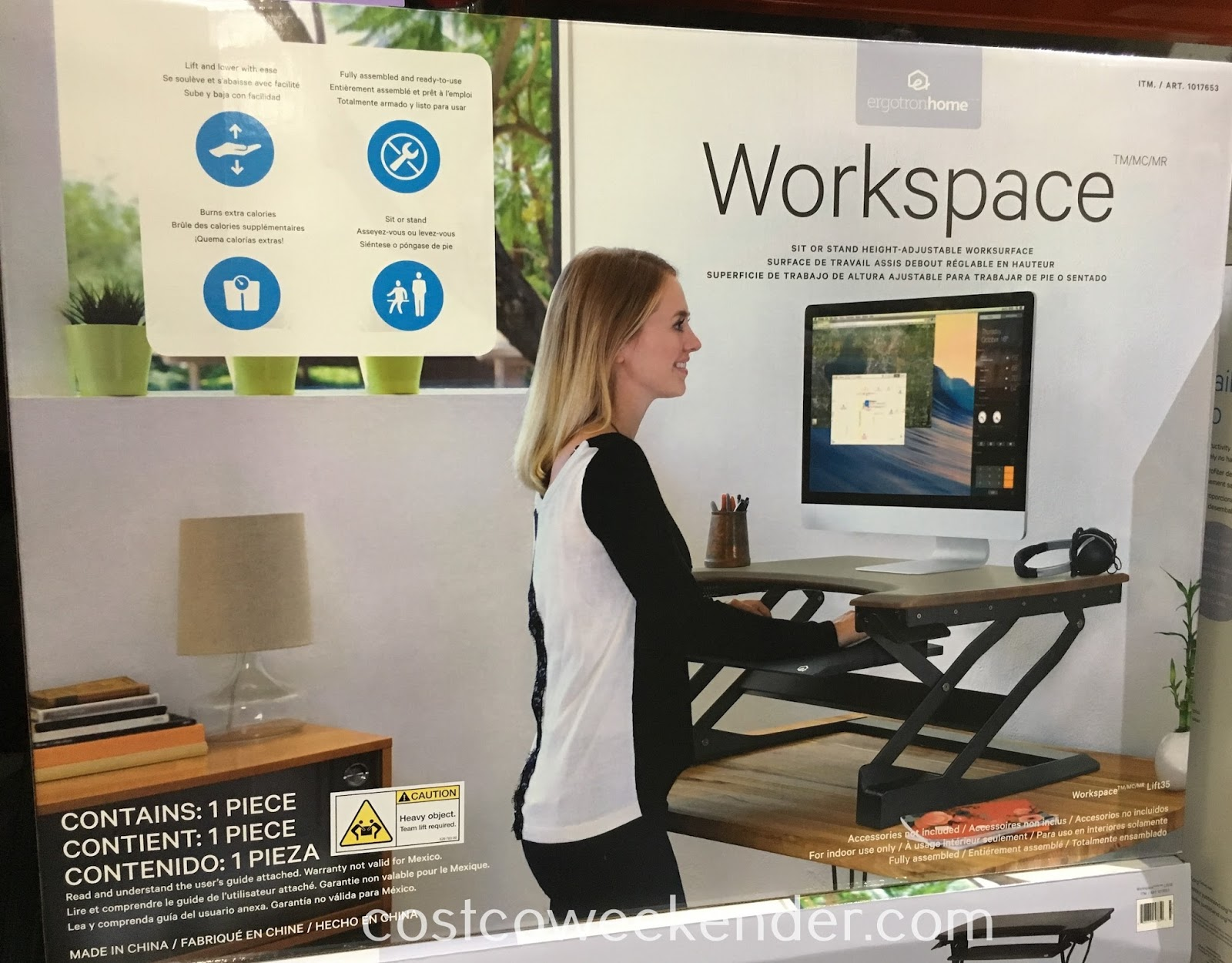 ErgotronHome Sit or Stand Height-Adjustable Workspace Lift35 - Standing burns more calories, increases muscle tone and improves insulin effectiveness.