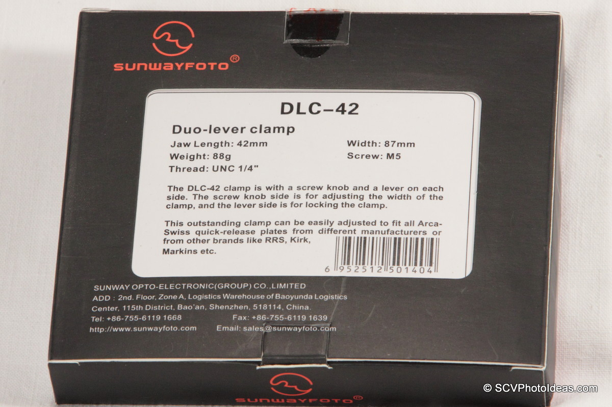 Sunwayfoto DLC-42 Duo QR Clamp box bottom window
