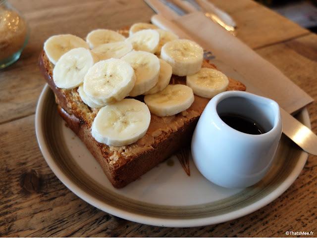 petit-déjeuner Breakfast Toast peanut Butter & Banane Café Maison d'Etre, islington et highbury Londres
