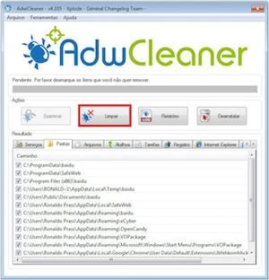 Removendo programas e complementos maliciosos com o AdwCleaner