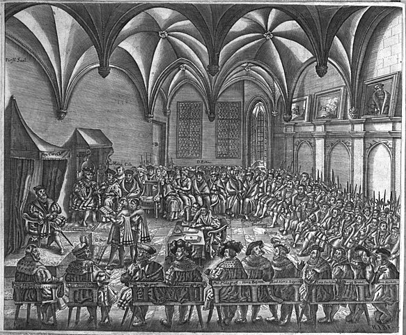 Saxon chancellor Christian Beyer proclaiming the Augsburg Confession in the presence of Emperor Charles V, 1530