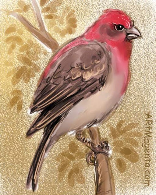 Rosefinch, a bird painting by Artmagenta
