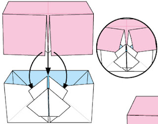 Bước 16: Lấy nắp đậy ở phần 1 chụp lên hộp giấy vừa gấp