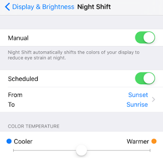 iOS Night Shift Mode