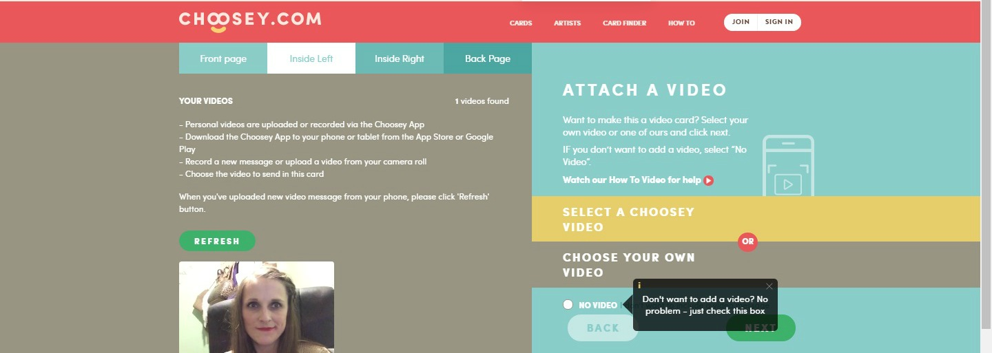 attaching a video to your card on choosey
