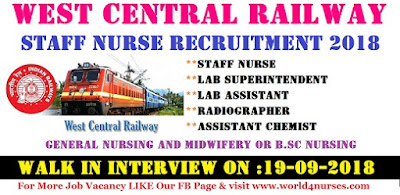 West Central Railway Staff Nurse Recruitment 2018-19