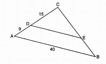 X why january 2018 common core geometry regents part 1 mult in the diagram of triangle abc below de is parallel to ab cd 15 ad 9 and ab 40 ccuart Gallery