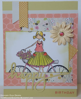 Wildflower inspired birthday card using Stampingbella Flora Bicycle stamp and PTI One Big Happy Die
