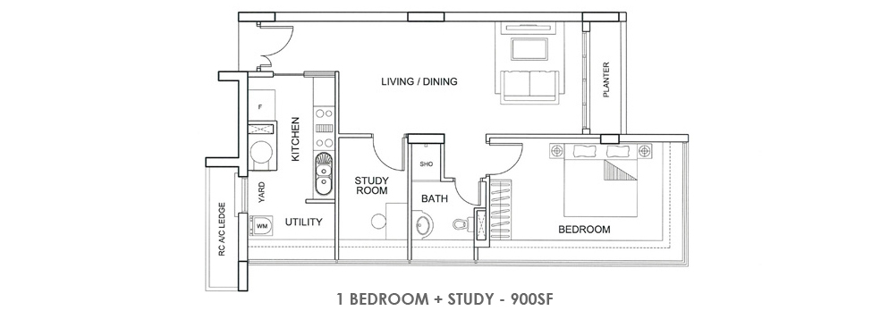 Fortville 1 Bedroom + Study Floorplan
