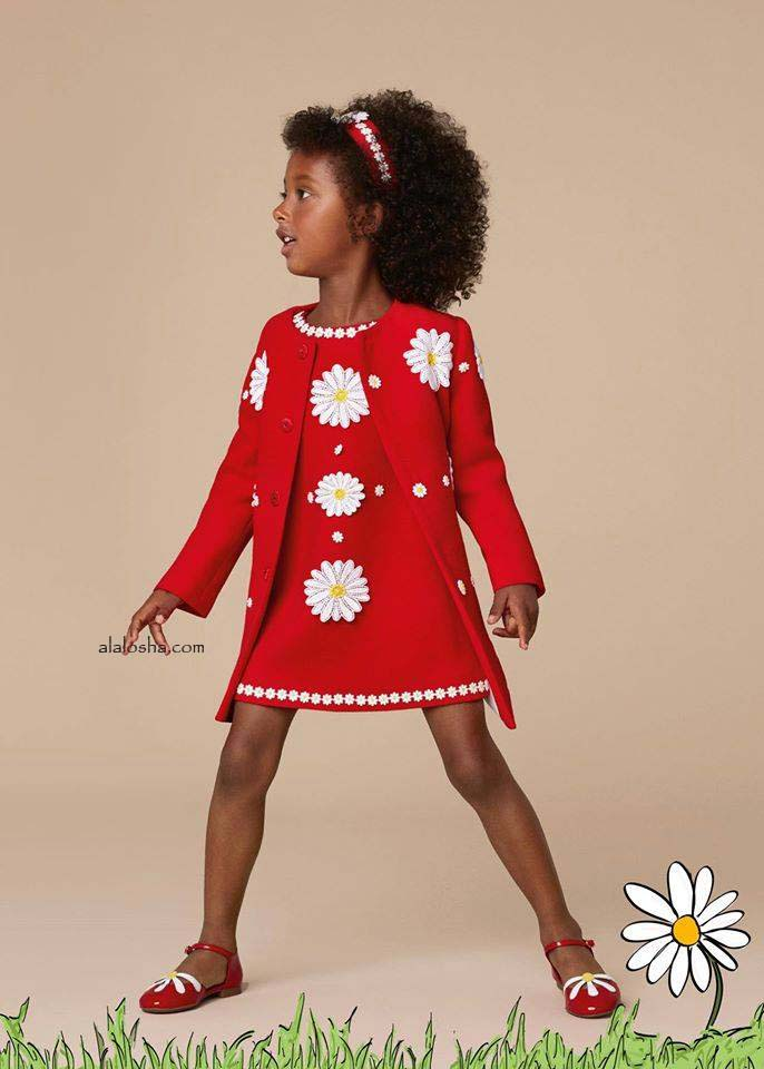 Baby Girls Red Wool Crêpe Daisy Dress with Knickers