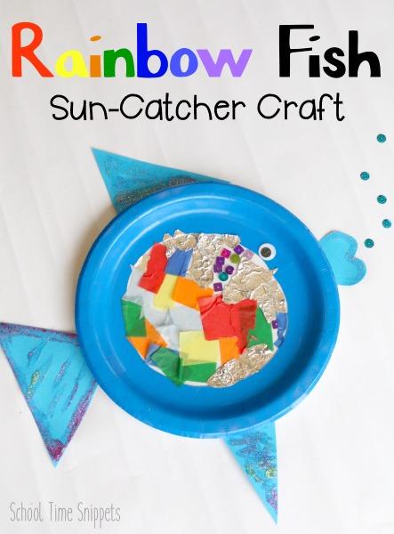 paper plate rainbow fish preschool craft