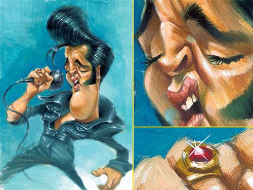 """Detalle de Caricatura de """"Elvis Presley"""" por Joan Vizcarra"""