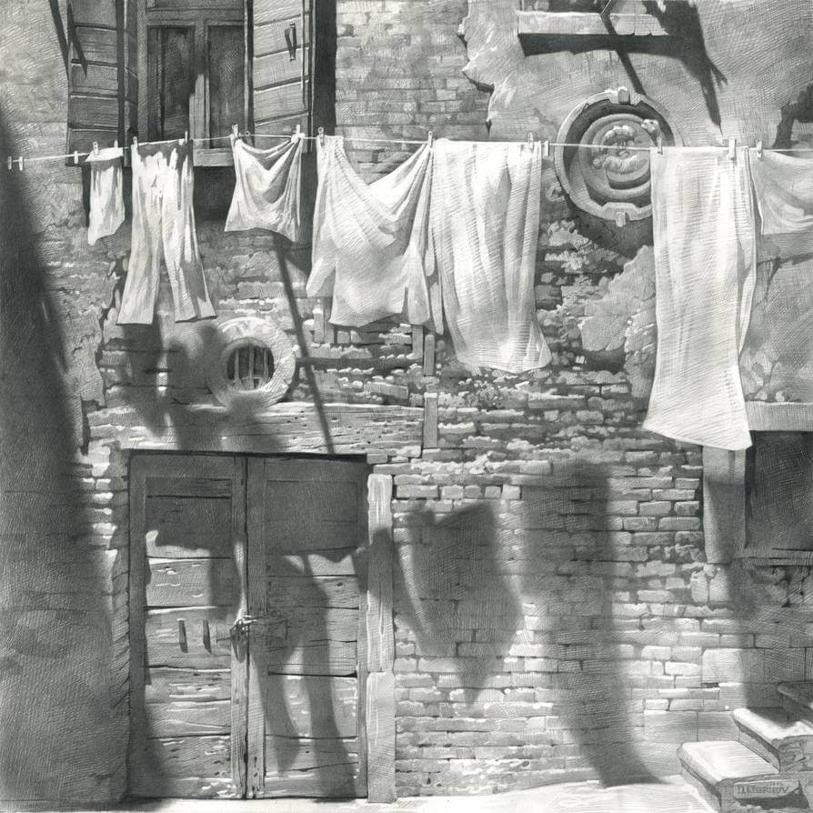 06-Laundry-Line-Denis-Chernov-Urban-Architecture-Pencil-Drawings-www-designstack-co