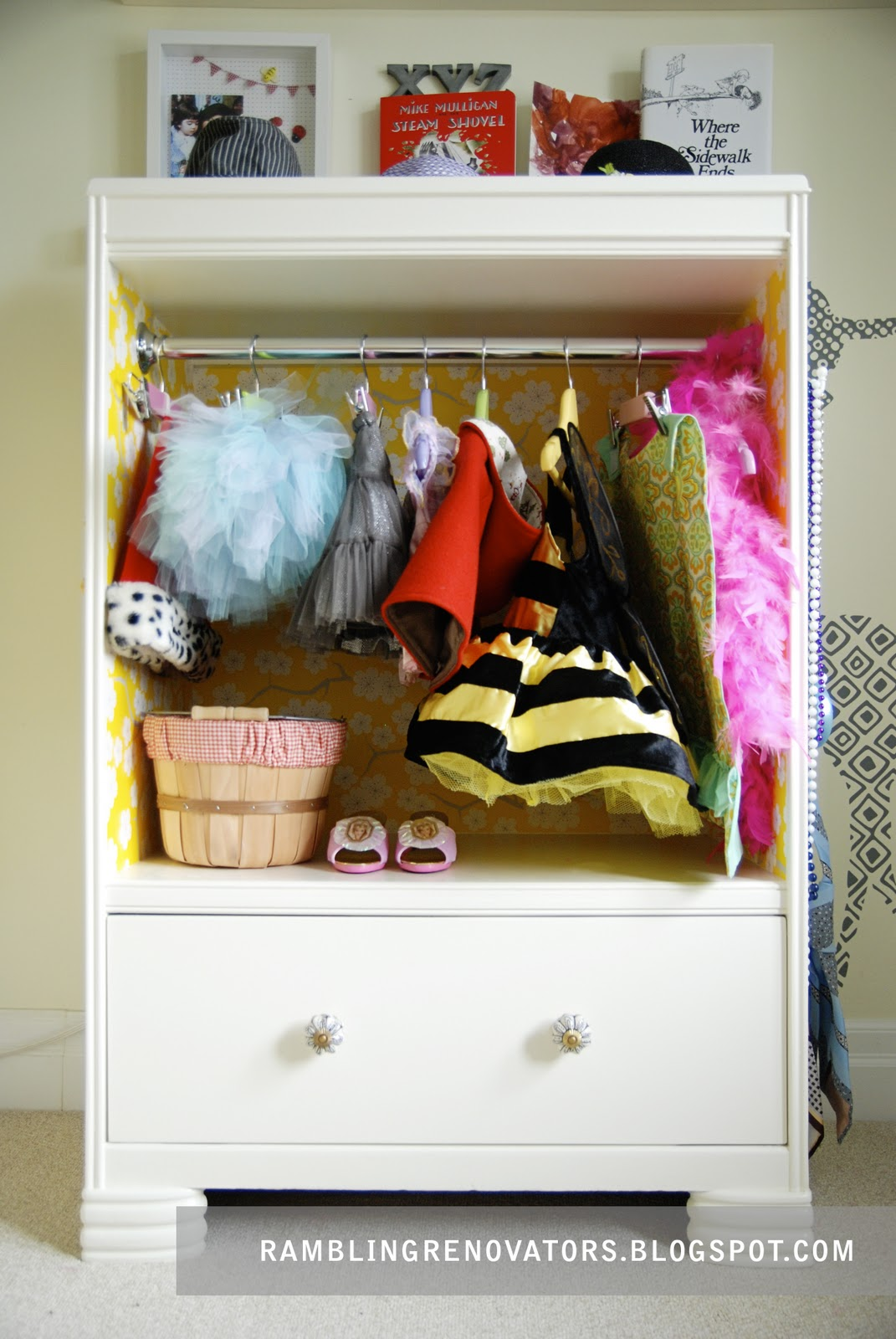 kids dress up closet made from upcycled dresser. Dress up clothes storage on a budget