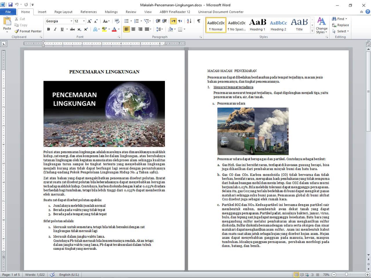 Pencemaran Lingkungan Udara Air dan Tanah