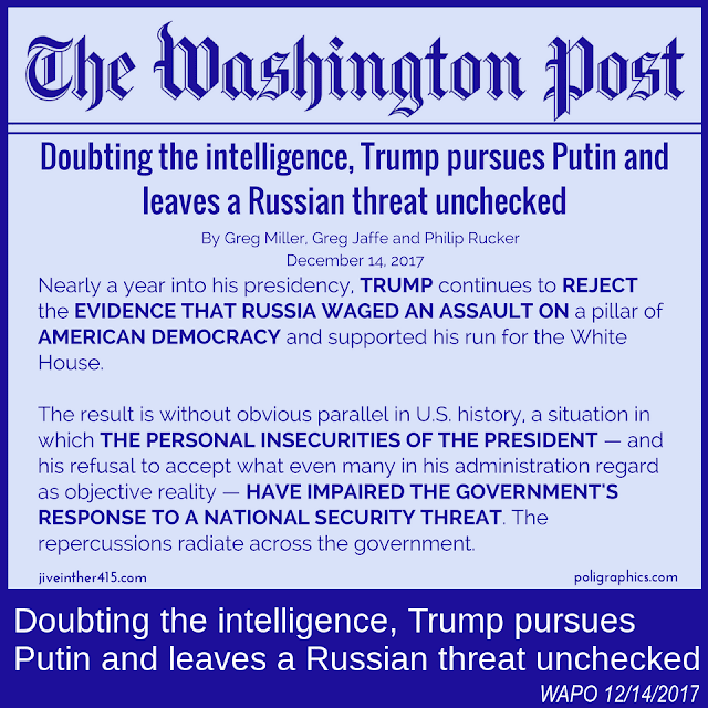 "Washington Post Headline ""Doubting the intelligence, Trump pursues Putin and leaves a Russian threat unchecked"""