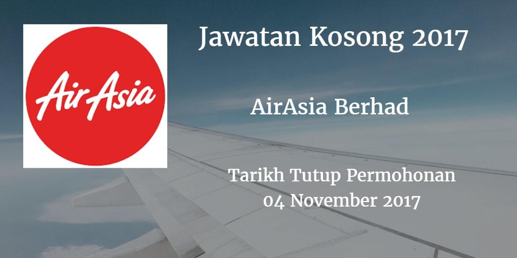 Jawatan Kosong AirAsia Berhad 04 November 2017