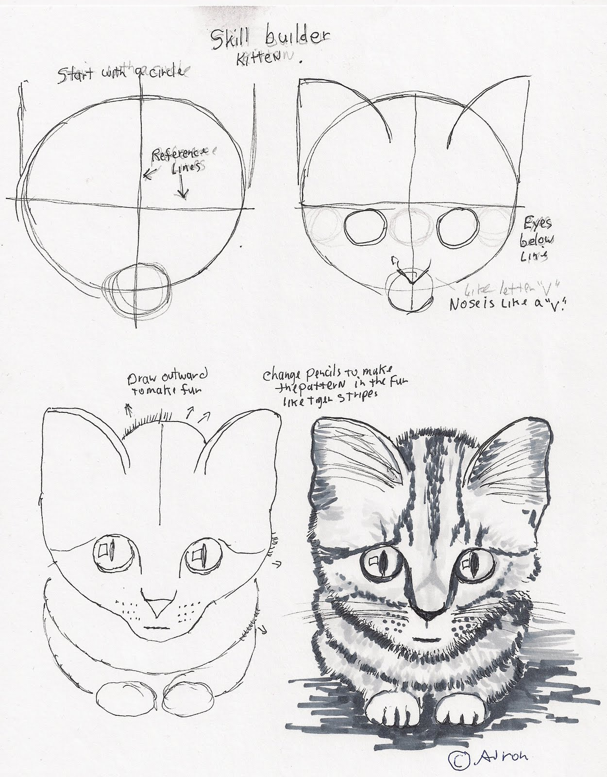 Adron S Art Lesson Plans How To Draw A Simple Kitten
