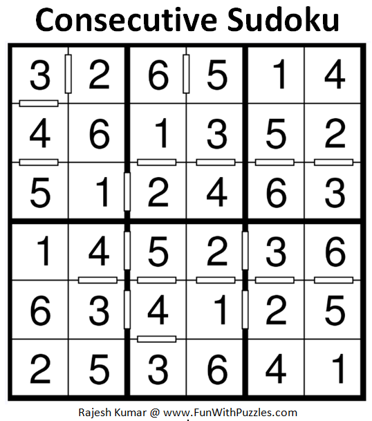 Consecutive Sudoku (Mini Sudoku Series #68) Solution