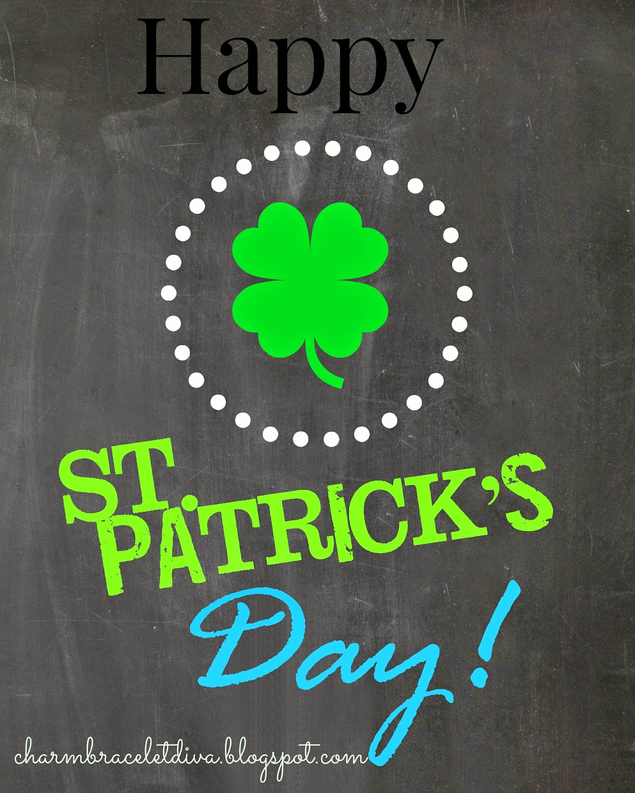 Happy St. Patrick's Day chalkboard printable