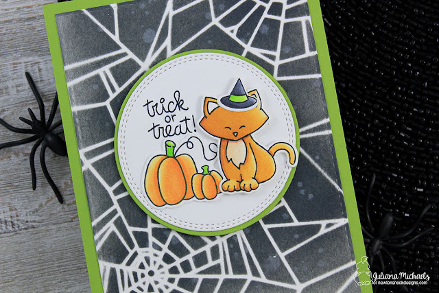 Detail image of Trick or Treat Halloween Card by Juliana Michaels featuring Newton's Nook Designs Newton's Costume Party Stamp Set and Fall-ing For You Stamp Set