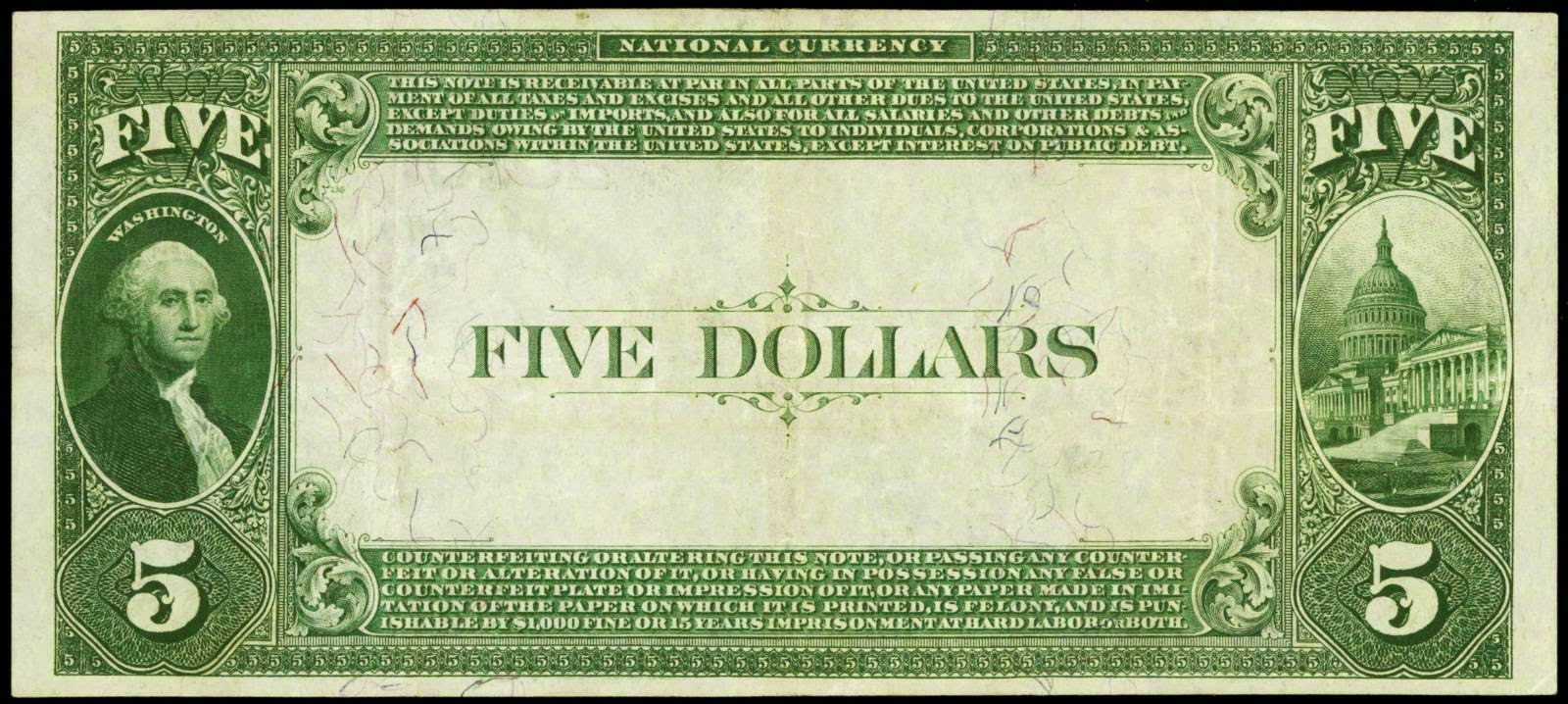 National Currency 1882 Five Dollar Value Back