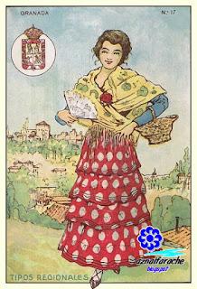 Traje típico de Granada - Tipos regionales - Cromos primera mitad siglo XX