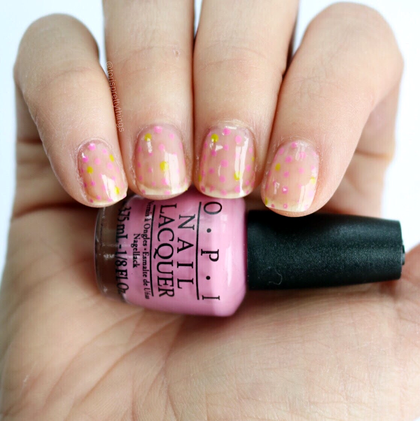 Negative Space Spring Dotticure Nail Art, OPI Sparrow me the Drama - Tori's Pretty Things Blog