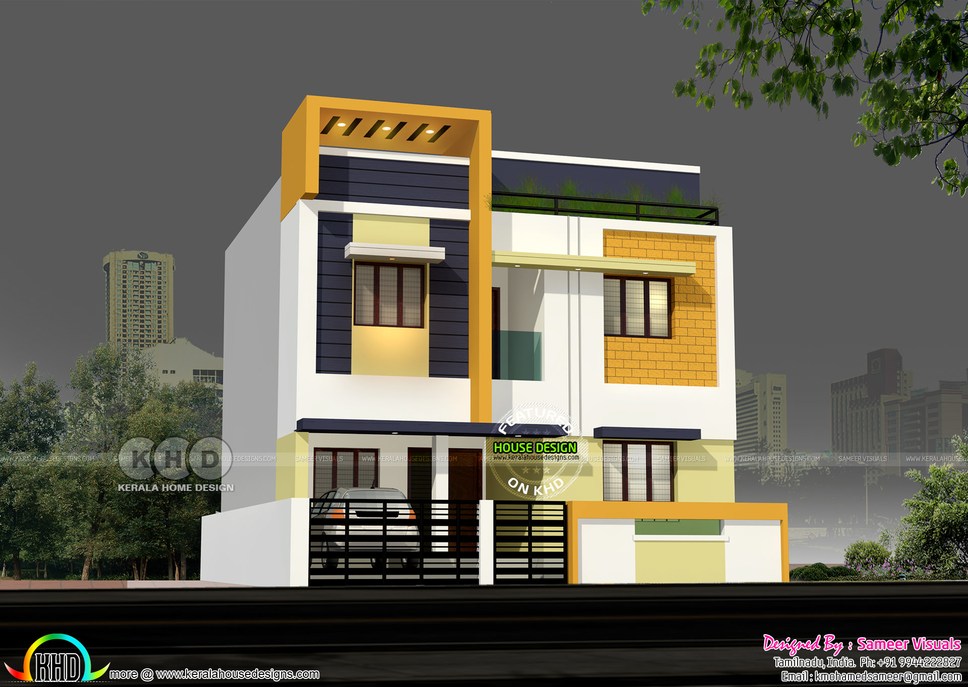 1600 square feet modern 4 bedroom tamilnadu house kerala for Modern house plans for 1600 sq ft